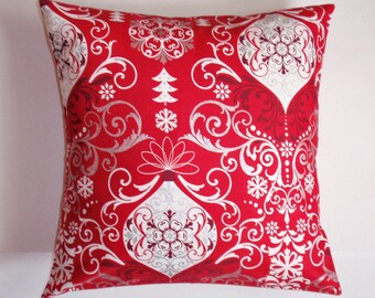 Summer SALE - Christmas Throw Pillow Cover, Festive Christmas Ornaments in Red Accent Pillow Cover, Christmas Decor Cushion Cover, LAST ONE