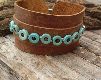 Brown Boho Bracelet - Adjustable Leather Cuff - Best Boho Bracelet - Turquoise Beaded Cuff - Leather Bangle - Wanderlust Bracelet