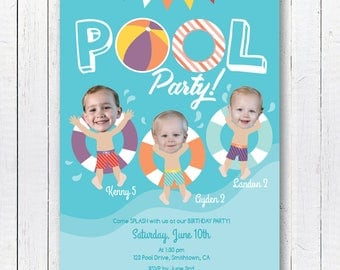 Pool Party Invite, Pool Party Invitation, Your Custom Photo, Swimming Theme Invitation, Party Printables, 5x7inch Invitation