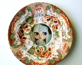 Blythe Doll Vintage Plate Altered Art - pop art wall hanging plate