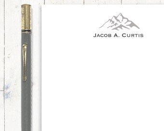 personalized notePAD - MOUNTAIN PEAKS - stationary - letter writing paper - mens stationery - writing notepad