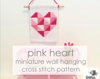 """Instant Download """"Pink Heart"""" Dollhouse Wall Hanging - modern miniature for dollhouse / digital pdf cross stitch embroidery pattern"""