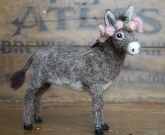 Needle Felted Donkey, Burro, Nativity Animal