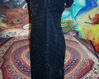 Beaded Dress, Black beaded Gown, Beaded evening gown, 80s beaded dress, size M / L