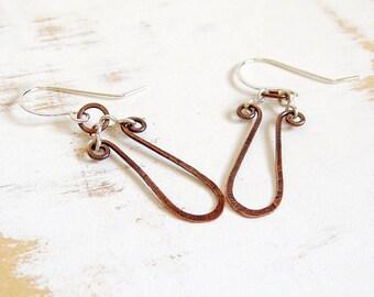 Copper Loop Earrings with Sterling Silver Hooks, Mixed Metal Jewelry, Chandelier Earrings, Hammered Copper Earrings, Rustic Jewellery