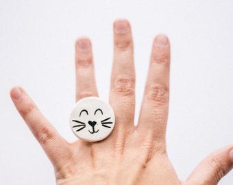 Cat ceramic ring. Handmade ceramic jewelry ring. Ceramic cute cat ring. Ceramic ring handpainted