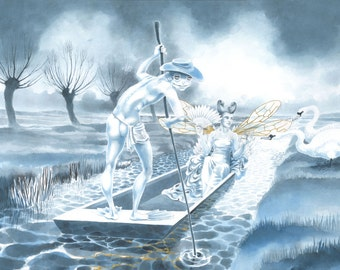 "Original fairy art, painting in watercolour and gold leaf - ""The Fairy Barge"" - Swans, the Somerset Levels, a Queen and a strange boatman."