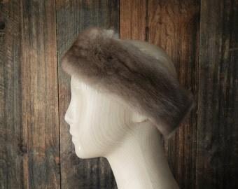 MINK Fur Earmuffs headband / brown ear warmer / hat
