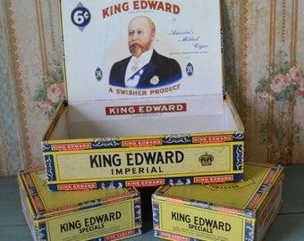 Vintage King Edward Cigar Boxes 1 Large & 2 Small