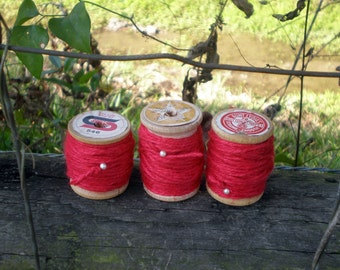 New Red Rope, Coarse Jute String, 3 Ply Jute, Vintage Wood Thread Spool, Gift Tag String, Gift Wrapping Rope, Craft Supply, Card Making