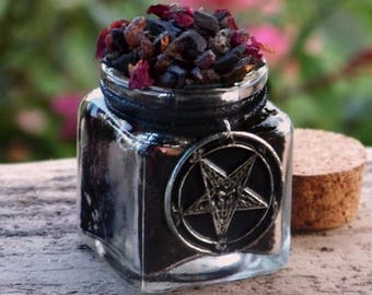 """OCCULT VENEFICUS """"Old European Witchcraft"""" Chthonic Resin Herb Incense with Black Baphomet Charm"""