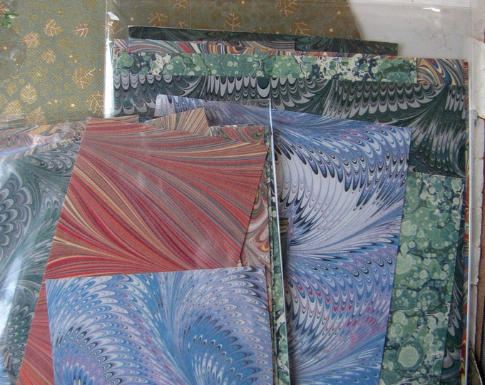 marbled paper pack - mixed selection of various patterns and colours - high quality thick paper
