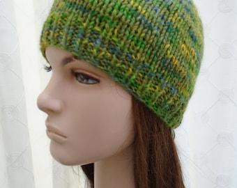 PURE ALPACA green blue yellow knitted beanie seamless knit by irish granny