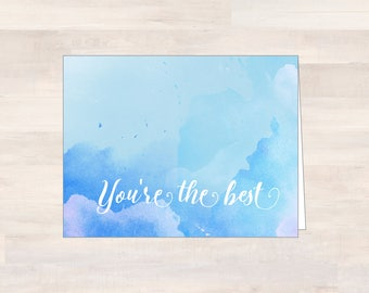 YOU'RE the BEST, Watercolor Thank You Cards, Blank Watercolor Note Cards, Blue/Purple Watercolor Cards, Note Card Set, Blank Notecard Set