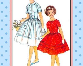 Vintage 1959-CLASSIC TWIRL DRESS-Girls Sewing Pattern-2  Styles-Full Twirl Flirt Skirt-Buttons-Bows-Trim-Lace-Contrast Details-Size 12-Rare