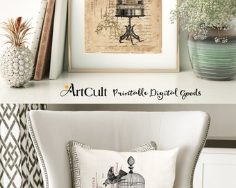 2 Digital Sheets SHABBY FRENCH COTTAGE No10 Printable Images to print on paper, fabric or transfer sheet, for totes t-shirts pillows posters