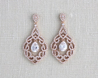 Rose Gold Bridal earrings, Crystal Wedding earrings, Wedding jewelry, Rose Gold Chandelier earrings, Bridal jewelry, Teardrop earrings