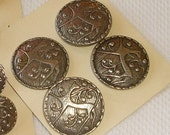 Norwegian Pewter Buttons with abstract Deer - 4 big Pewter Buttons from Norway - Tin Knapper