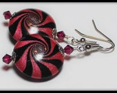 Reserved for Patty... Handmade Beaded Jewelry Earrings Polymer Clay Beads Hot Pink Fuchsia Black Silver Swirl Spiral Crystal Lightweight
