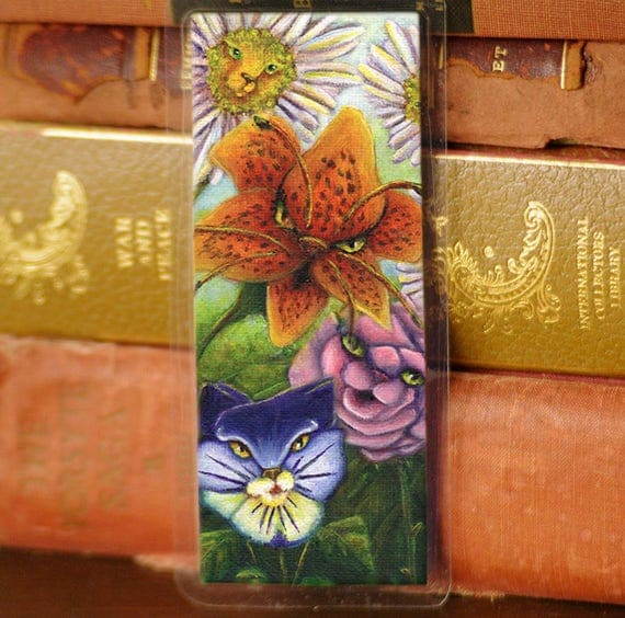 Garden Cat Flowers Bookmark Alice in Wonderland Cat Bookmark