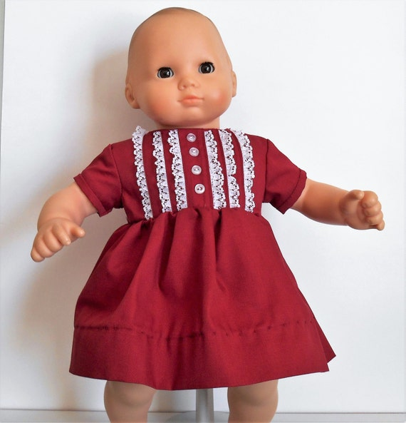 """Red dress with pintucks and lace bodice fits 15"""" dolls like Bitty Baby and Bitty Twin"""