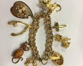 Vintage Signed Hobco Charm Bracelet - 8 Charms