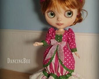 Fuschia Pink Dots Outfit for Neo Blythe Doll Dress Headband