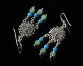 Boho Chandelier Earrings, Boho Earrings, Gypsy Earrings, Turquoise Jade Silver Earrings, Unique Jewelry Gift for Girlfriend, Women's Gift