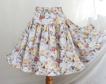 Girl's Floral Skirt Creamy Yellow & White Rose Girl Ruffle Skirt Twirl Skirt Summer Kids Clothes Big Girls Clothing 2T 3T 4 5 6 7 8 10 12 14