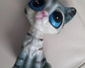 Vintage BIG EYES Blue Kitty Cat Ornament Statue 1960's