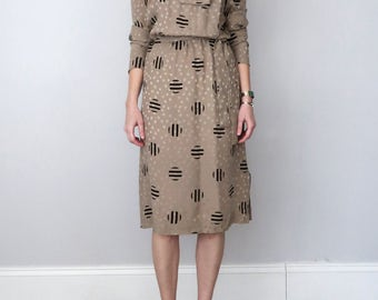 80s silk geometric print secretary dress (s - m)