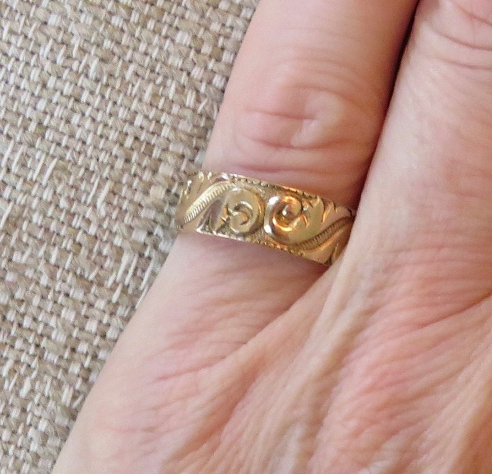 Victorian 10k Gold Wedding Ring with Etruscan Scroll Motif Size 5.5 ...