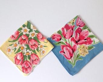 2 Vintage Linen Handkerchiefs Pink Tulips Yellow Blue