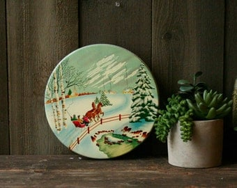 Metal Christmas Cookie Tin Vintage Probably 50s Vintage From Nowvintage on Etsy