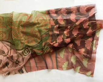 Hand painted Silk Scarf Ginkgo leaves. Pastel silk chiffon scarf, Maroon Green scarf decorative/ Art Deco Shawl Scarf Klimt inspired scarf