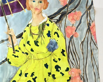 Hand painted silk scarf- Lady in lime Yellow Dress, Luxurious scarf, Wedding shawl, Neon yellow Gray scarf Art Deco scarf Boho wedding scarf