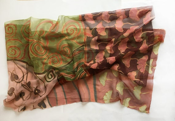 Hand painted Silk Scarf Ginkgo leaves. Pastel silk chiffon scarf, Maroon Green scarf decorative/ Art Deco Shawl Scarf Klimt inspired scarf