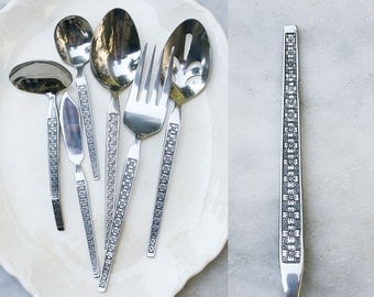 Vintage Mid Century Stainless Flatware / 6 Serving Pieces / 1960s Torino Pattern