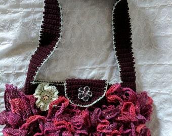 "Sweet Purse Handbag Shoulder Bag in Cranberry Plum Red with Ruffles & Flowers - 11""W x 8""H x 2""D"