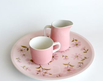 Vintage Mikasa Pink China Pastelle Platter Creamer Cup Set Floral Dinnerware 1970s