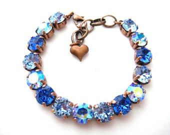 Swarovski Crystal Rhinestone Sapphire Lt. Sapphire AB Lt. Sapphire Tennis Bracelet, Big Stone Looks, Rhinestone Bracelet, Copper Summer Mix
