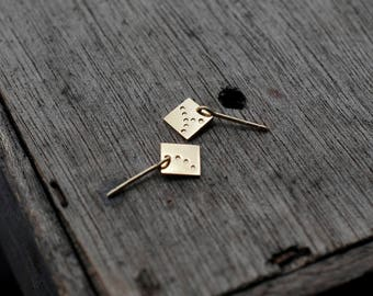 Square spangles in soild silver or Vermeil earrings studs