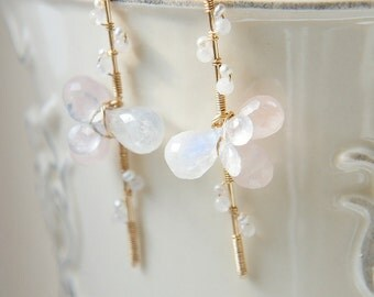 Rose Quartz Moonstone Earrings, Pale Pink White Earrings, Wedding Bridal Jewelry, Long Earrings