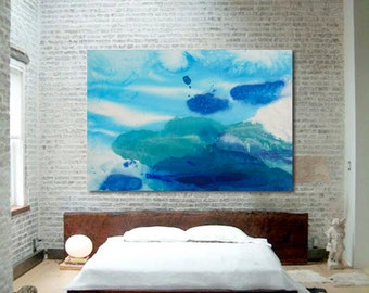 "Large Original Painting, Clouds & Sky, Abstract Expressionism, blue, green, 54 x 80"", ""Castles in the Sky""  contemporary stained canvas art"