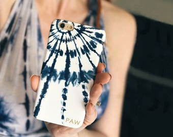 Personalized Phone Case Boho Style Indigo Tie Dye Burst iPhone 7, Plus Case Blue Shibori iPhone SE, 6S Plus, Festival Fashion, Summer Party