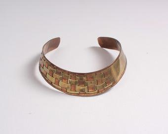 Vintage 80s Brass CHOKER / 1980s Woven Copper & Brass Indian Boho Necklace