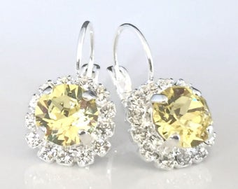 Lemon Yellow Swarovski Crystals Framed with Clear Halo Crystals on Silver Lever Back Earrings, Crystal Halo Dangles