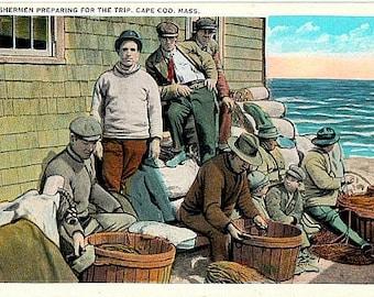 Vintage Cape Cod Postcard - Cape Cod Fishermen preparing for the Trip (Unused)