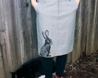 Rabbit pencil skirt - upcycled eco screenprint,  size 6 fitted