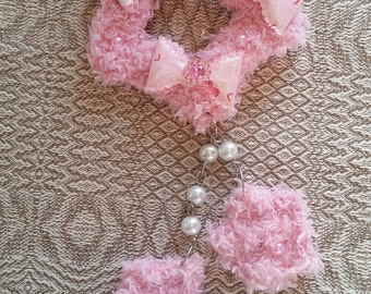 2-Way Pink Crystal Bow Fuzzy Shooting Star Barrette/Pin